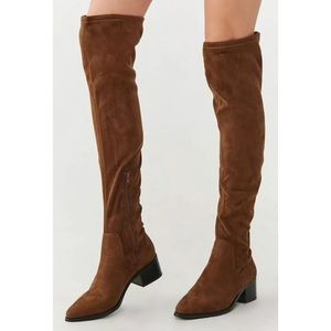 Forever 21 Over The Knee Brown Faux Suede Boots